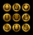 black horseshoe icons vector image vector image