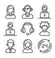 call center and support icons set vector image vector image