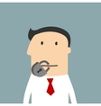 Cartoon businessman with a lock on the mouth vector image
