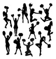 Cheerleaders Action and Activity Silhouettes vector image vector image