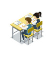 children sit at desk isometric icon vector image vector image