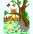 childrens color cartoon animals friends in nature vector image vector image