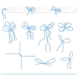 Collection of blue ribbons ahd bows vector image vector image