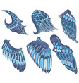 collection of blue wings vector image vector image