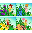 Fairies flying in the garden vector image vector image