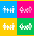 family sign four styles of icon on four color vector image vector image