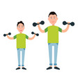 father and son train with dumbbells vector image vector image