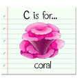 Flashcard letter C is for coral vector image vector image