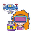 fpv goggles technology cartoons vector image