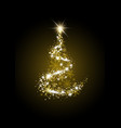 gold luxury christmas tree on black background vector image vector image