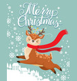 greeting card with xmas deer merry christmas vector image vector image