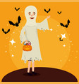 halloween card with ghost disguise vector image vector image