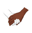 hand holding hand vector image vector image