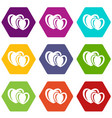 heart love icons set 9 vector image