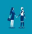 human vs robotbusinesswoman standing with robot vector image vector image