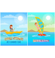 lovely summer best time set vector image