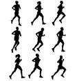 marathon runners silhouettes vector image