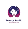 minimalistic beauty studio logo in blue and vector image vector image