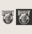 monochrome brewery round emblem vector image vector image
