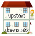 opposite wordcard for upstairs and downstairs vector image vector image