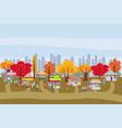 outdoor festival with food trucks awnings tents vector image vector image