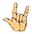 realistic rock n roll hand gesture icon graphic vector image