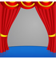 red curtain with with golden stripes vector image