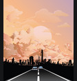 road leading to city at dawn vector image vector image
