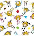 seamless pattern cartoon hand drawn doodles girl vector image vector image