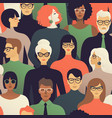 seamless pattern of many different people profile vector image vector image