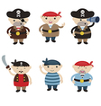 Set of cute cartoon pirates vector image