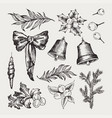 set of isolated hand drawn monochrome christmas vector image vector image