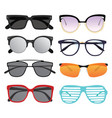 set of sunglasses collection of stylish glasses vector image vector image