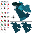 West Asia with flags vector image vector image