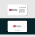 white business card with square logo red color vector image