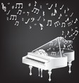 music card with white grand piano and notes vector image