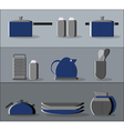 Kitchen supplies flat icons set vector image