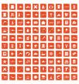 100 fish icons set grunge orange vector image vector image