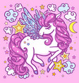 a cute white unicorn with a pink mane vector image vector image