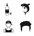 alcohol a shark and other web icon in black style vector image vector image