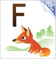 animal alphabet for kids f for fox vector image