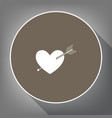 arrow heart sign white icon on brown vector image vector image