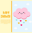 baby shower card design template with cute pink vector image vector image
