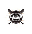 baseball logo with crossed wooden bat and ball vector image vector image