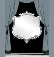 big curtain and suspended classic decorative frame vector image vector image