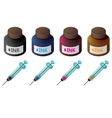 Bottles of color ink and syringes for cartridge vector image vector image