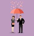 businessman flirt with a woman under an umbrella vector image vector image
