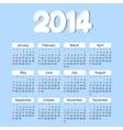 Calendar 2014 year vector image vector image
