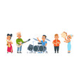 cartoon child band cute kid orchestra with happy vector image