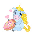 cartoon light blue lovely unicorn holding pink vector image vector image